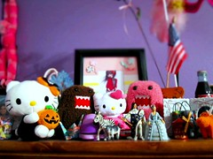 day 156: stuff (sweetsandhearts) Tags: hello pink red orange brown black cute mill halloween marie project jack moulin rouge toys louis miniature colorful purple random o kitty goat moose things collection stuff domo zebra antoinette lantern 365 2010 xvi project365 ericaleigh sweetsandhearts