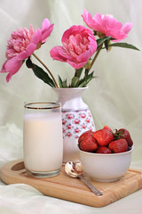 Sweet Invitation (panga_ua) Tags: stilllife white reflection cup glass wooden milk strawberries spoon fabric fragrant vase folds tabletop peonies cuttingboard redberries naturamorta draping cutflowers rosefamily threeflowers fragraria interestingfacts sweetinvitation