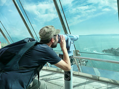 pretending to look at the isle of wight (cyberchrome) Tags: panorama seascape photoshop hampshire portsmouth spinnakertower gunwharfquays panasonicdmctz3