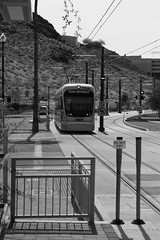 Here Comes the Train (D.Dorman) Tags: city railroad arizona urban train outdoors blackwhite flickr metro getty tempe gettyimages canonites phoenixlightrail canondigitalrebelxs davedormanphotography