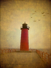 ~ Milwaukee Lighthouse ~ (Denise Purrington {{say hello to my Little Bears:)) Tags: ocean bridge red lighthouse beach birds vintage pier dock antique seagull textures milwaukee textured flickraward magicunicornverybest
