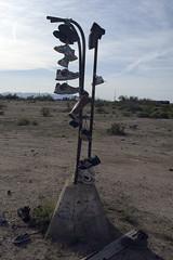 Roadside07 (Alix!) Tags: california abandoned fence highway shoes desert random roadside shoetree highway62 hwy62 ca62 riceshoefence