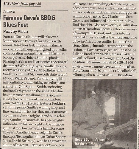 06/12/10 Famous Daves BBQ & Blues Fest @ Peavy Plaza, Minneapolis, MN (City Pages A-List Item)