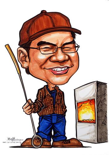 Caricatures for NUS -  steelmill worker
