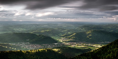 Fleeting Moments (andywon) Tags: lighting city longexposure houses storm nature rain clouds forest germany landscape deutschland village hills thunderstorm schwarzwald blackforest badenwrttemberg kandel waldkirch explored kandelfelsen