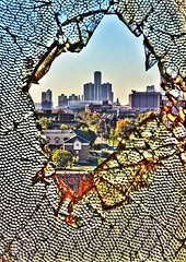 Shattered (. : : v i S H a l : : .) Tags: morning urban abandoned broken window glass landscape downtown body detroit fisher shattered dilapidated rencen urbex autoplant