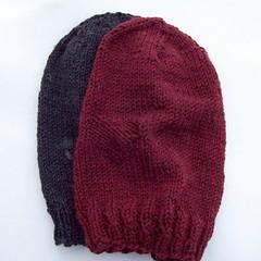 Hand knit wool beanies