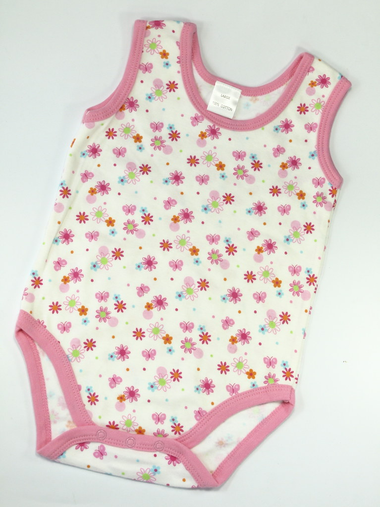 Sleeveless romper: flowers and butterflies, S(0-6m) and M(6-9m), L(9-12m)
