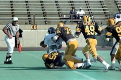 Safety! (Guy Fisher) Tags: film sports 35mm football kodak action 1980s olympusom10 berea baldwinwallaceuniversity guy kodacolorvr400 finniestadium
