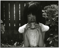 HANA (Tamakorox) Tags: daughter family girl portrait art hydrangea blossom japan japanese asia light shadow pleasure love 娘 日本 日本人 光 影 喜び 愛 紫陽花 film analoguecamera b&w mamiyarb67prosd kodaktmax400 fujibrovarigradewp
