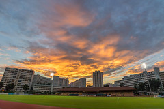 Fury clouds above Hougang Stadium (BP Chua) Tags: sunset cloud fury orange sky singapore asia hougang stadium landscape above urban wideangle canon 7d2
