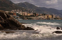 (- Crupi Giorgio (official)) Tags: italy liguria genova boccadasse seascape landscape mountain sea clouds sky reef canon canoneos7d canon70300mm