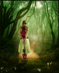 Deeper into the forest (violscraper) Tags: road ballet brick rose yellow forest shoes emerald peopleinart innamoramento moonseclipse faestock sonjasdreamlandgallery thelightofbeauty magicuniverse monikasdigitalart