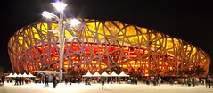 Beijing National Stadium At Night (Jakob Steinschaden) Tags: china city trip birds nest stadium capital beijing games olympia mandarin olympic peking megacity