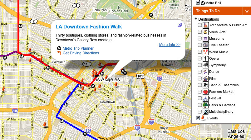 New interactive mashup puts Metro and L.A. attractions on the same on