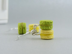 Green Tea and Thyme Macarons (Shay Aaron) Tags: food paris miniature cookie mint fake jewelry macaroon clay tiny pistachio pastry faux romantic earrings wearable delicate greentea dangle sophisticated thyme peppermint petit franch macaroons macarons mentha
