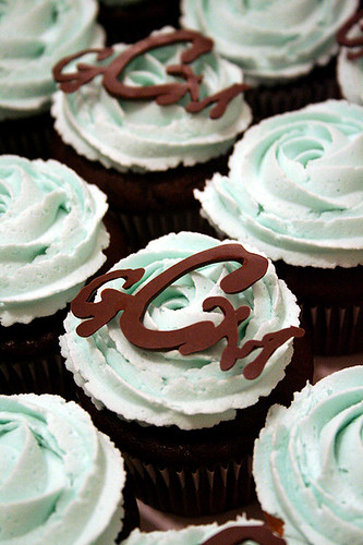 Monogrammed baby shower cupcakes