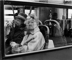 The bus stopped, she got out and chased me with an umbrella for twenty minutes (deepstoat) Tags: bw bus london film zeiss 35mm angry busted ilford clocked oap contaxg2 autaut