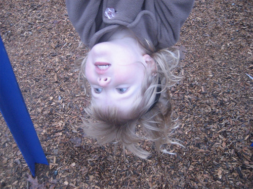 Hannah dangling upside-down