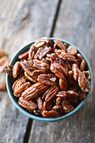 spiced maple glazed pecans