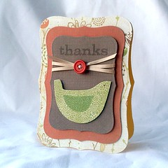 thanks (tprezzia) Tags: bird thanks paper outside stamp button ribbon heroarts handmadecard nesties givingcards
