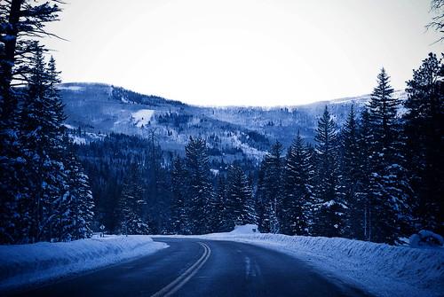 snowy christmas drive