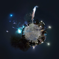 Happy new year 2010 (HamburgerJung) Tags: panorama germany deutschland fireworks hamburg newyear explore planet frontpage altona ottensen feuerwerk stereographic freihand hugin verwackelt da1017 verrauscht k20d