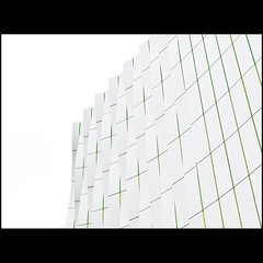 Straight edge (Maerten Prins) Tags: abstract building green lines yellow wall modern grey curves minimal groningen umcg