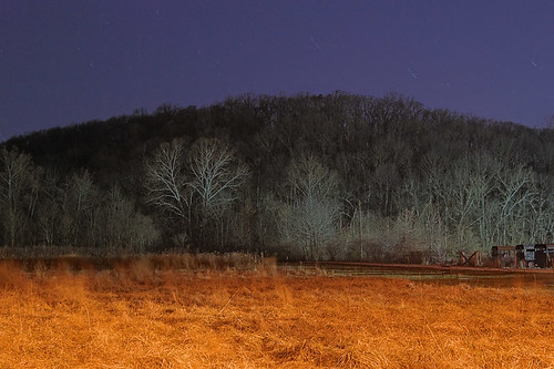 Forest 44 Conservation Area, in Saint Louis County, Missouri, USA - view of hillside and prairie at night