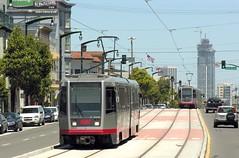 SF Muni Line T - 1451 & 1517 passing near 23rd St (Mega Anorak) Tags: sanfrancisco tram muni streetcar breda trolleycar tramcar linet
