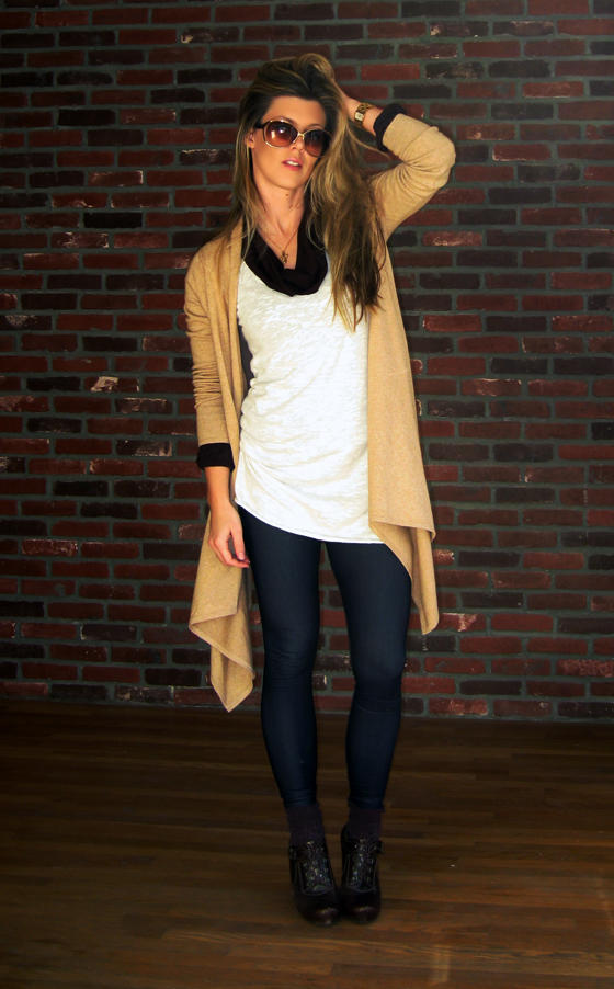 denim-leggings-tunic-sweaters-long-wrap-cardigan-tom-ford-sunglasses-via-spiga-shoes-lace-up-wedges-socks with shoes, gold snake necklace, jami rodrigues, brick wall, denim leggings, american apparel, forever 21