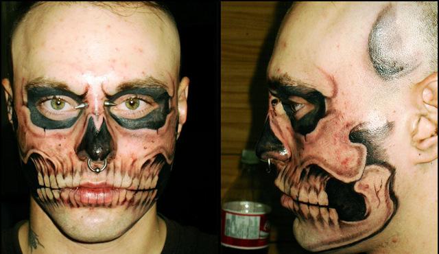 Skull Tattoo On Face