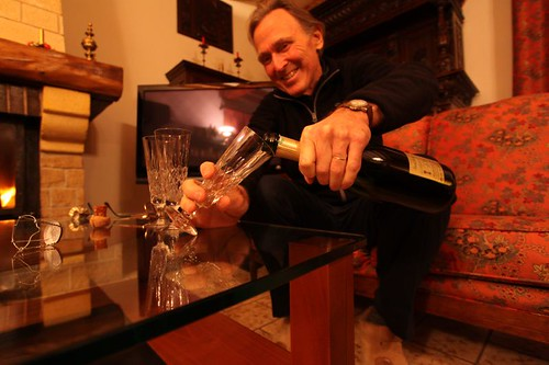 Jeffrey pouring a fine champagne...When in Rome...