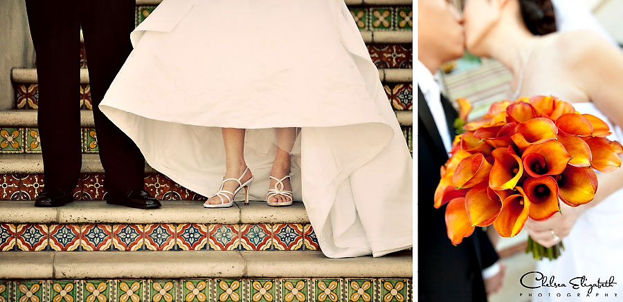 burnt orange bride calla lily and groom shoe shot on Spanish tile stairs picture