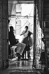 In-house cuban barber (Carlo_it) Tags: shop barbershop life social documentary bw black white carlo arioli cuba havana habana barber