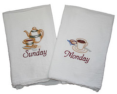Days of the Week Coffee Towels (Closet on Queen Creek) Tags: towels sack flour embroidered