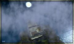 La forteresse de Valhal vue de haut - Valhal's castle from above (Zinaida Beaumont (Nous sommes Paris)) Tags: moon mist castle mystery lune sl secondlife forteresse mystre valhal brumes travelsofhomerodyssey whyteroseyao