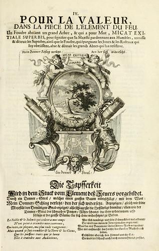 005- Divisa del tapiz el fuego para el valor-Tapisseries du roy, ou sont representez les quatre elemens 1690- Sebastien Le Clerc