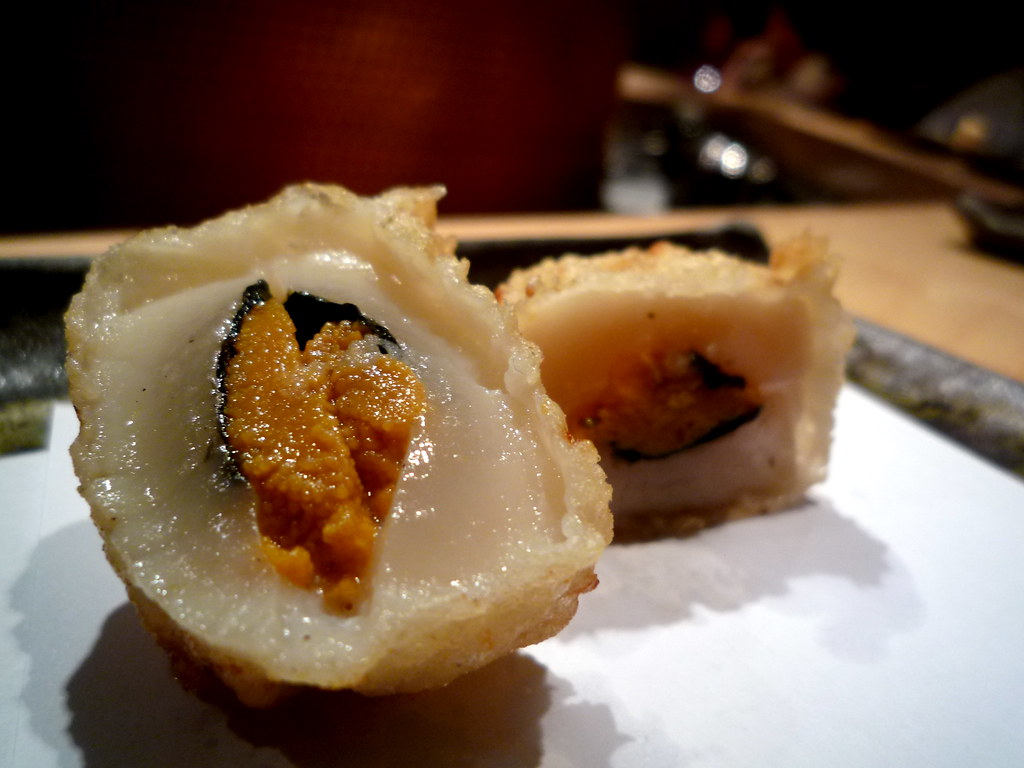 Sea urchin in nori and scallop