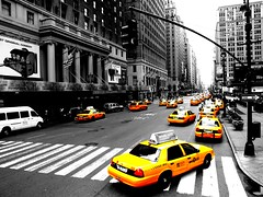 Yellow cabs (Just a guy who likes to take pictures) Tags: auto road street new york city nyc light urban bw en usa white ny black streets cars ford blanco monochrome car yellow america way photography one mercedes us und fotografie photographie cross traffic y state zwartwit walk manhattan taxi united negro transport gelb cap lane stadt infrastructure vs states autos van crosswalk amerika geel zwart wit weiss schwarz stad staten edit zw wagen weis verenigde infrastructuur wagens