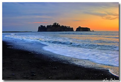 Sunset at Rialto Beach in Olympic National Park, USA (Ann Badjura Photography) Tags: ocean sunset usa beach nature clouds landscape island washington scenery rocks waves colourful olympicnationalpark mywinners anawesomeshot