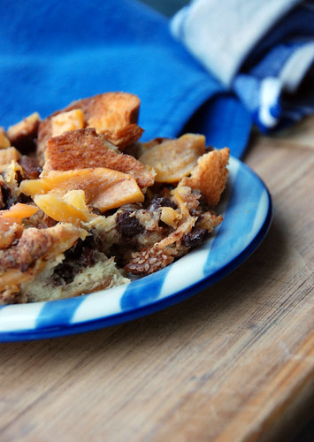 Persimmon-Chocolate Bread Pudding with Raisins