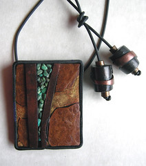Streams (pati b) Tags: wood bronze gold handmade turquoise ooak jewelry tribal polymerclay clay copper bannister pati pendants camphor