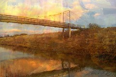 Bridge to Solace (flynryon) Tags: bridge lake reflection art texture mike digital river painting studio landscape j paint explore filter brushes oil kansas pocket ryon iphone scumble flynryon