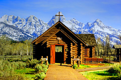 CHURCH IN THE WILDWOOD (Aspenbreeze) Tags: snow mountains church nature outdoors nationalpark spring cross wyoming grandtetons tetons churchofthetransfiguration theunforgettablepictures aspenbreeze tetonchurch