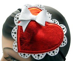 The Sweetheart - Leather Valentine's Day Hat (Topsy Turvy Design) Tags: prom bridal burlesque hearthat piratehat vintagehat cocktailhat promhat circushat costumehat candyhat customhat topsyturvydesign foodhat bridalhat burlesquehat topsyturvydesignetsy dragqueenhat valentinesdayhat