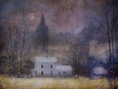 woodsmoke at dawn (BooBooetmoi) Tags: winter moon fairytale farmhouse woodsmoke magicunicornverybest imagofabulae artuniinternational