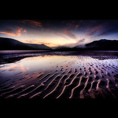 """ RIPPLES "" (Wiffsmiff23) Tags: sky mist mountains reflections sand ripples threecliffsbay thegower topseven"