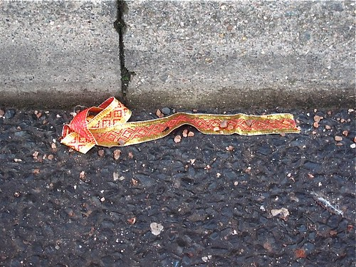 DiGpuss find: Red and Gold ribbon, survivor of the D&P Textiles fire