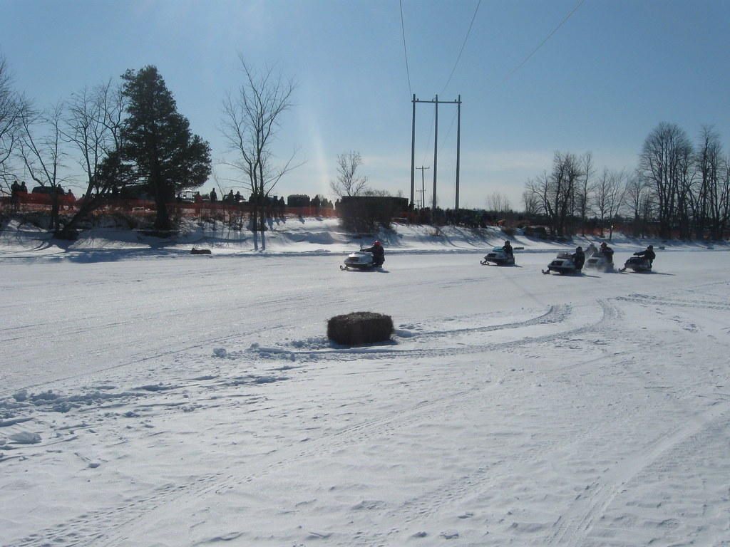 Vintage Snowmobile Oval Race
